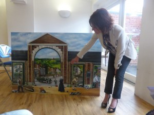 """Nathalie Beauvillian-Scott , Artist, with her work """"Charlotteville, Back to the Future"""""""